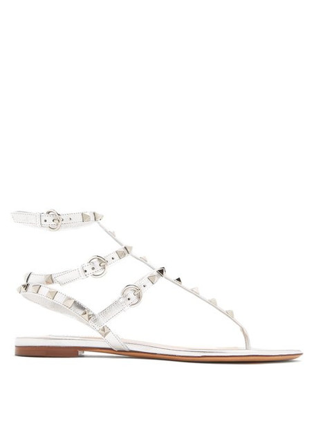 sandals leather sandals silver leather shoes