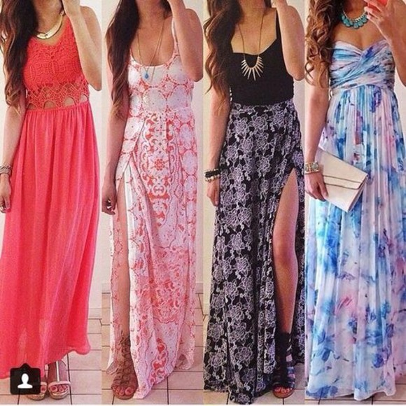 skirt slit skirt maxi skirt top shoes multicolored jewel light pink bag jewels