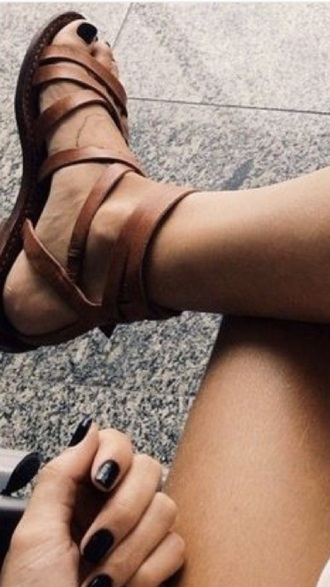 shoes brown sandals gladiators strappy