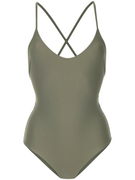 cross back women spandex green swimwear