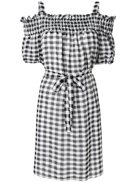 BOUTIQUE MOSCHINO dress mini dress mini women cold white cotton gingham