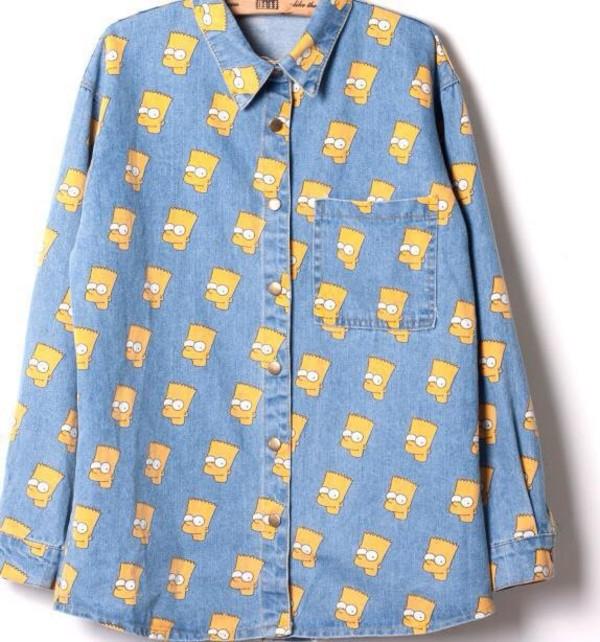 jacket denim bart simpson yellow collared