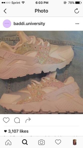 shoes diamonds sneakers nike sparkle huarache