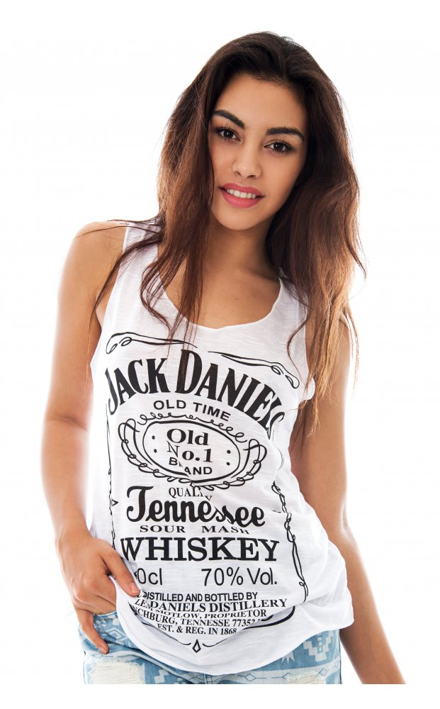 Jack Daniels Slogan Vest Top In White - from The Fashion Bible UK