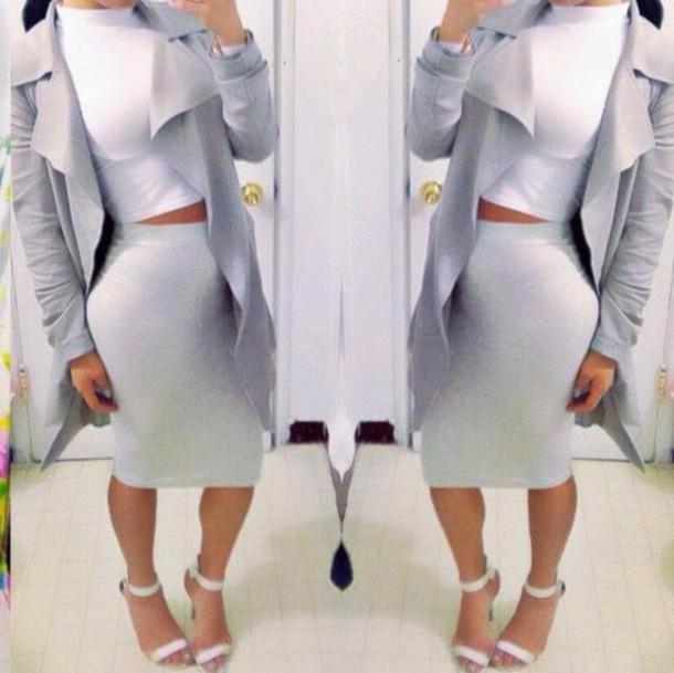 jacket coat skirt crop tops high heels dress