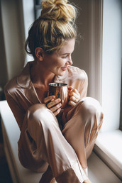 pajamas,bun,tumblr,pajama pants,pajama top,silk pajamas,blonde hair,cup,coffee