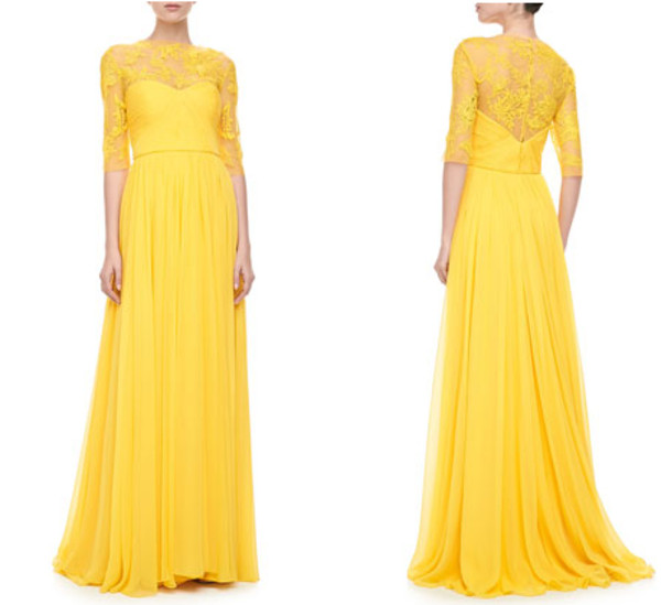 b78d3b36ef02 Monique Lhuillier Illusion Embroidered Gown, Yellow - Neiman Marcus