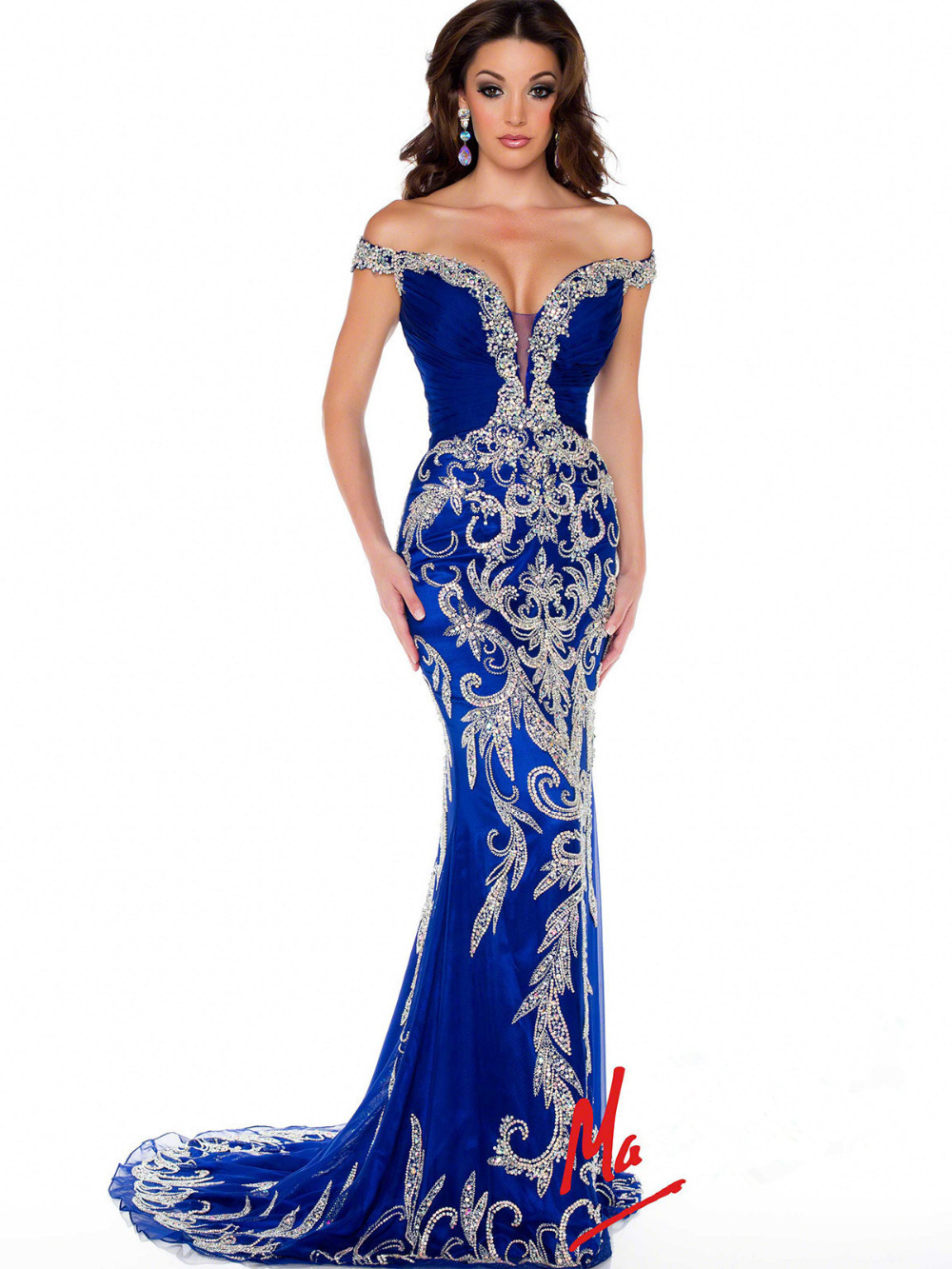 Aliexpress.com : Buy Customized Royal Blue Chiffon With Crystals Beaded Cap Sleeve Off Shoulder Pageant Prom Dresses 81891P Dubai Dresses Low Back from Reliable cap center suppliers on Suzhou Babyonlinedress Co.,Ltd