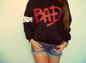 sweater bad black red white michael jackson jacket shirt who's bad sweatshirt jumper mj michaeljackson bad era thriller jacket hoodie black sweater