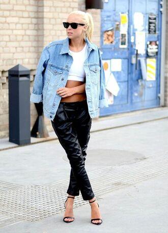 jacket white crop tops denim jacket leather pants strappy black heels blogger