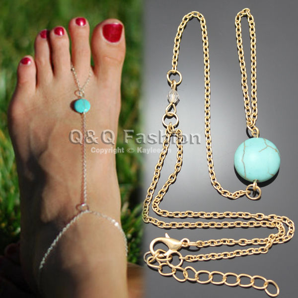 Gold Anklet Turquoise Bead Ankle Foot Barefoot Toe Ring Slave Chain Sandal Beach