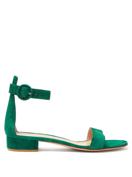 Gianvito Rossi - Portofino 20 Block Heel Suede Sandals - Womens - Dark Green