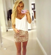 dress,dress skirt,shirt,skirt,tank top,sparkly skirt,top,white top,party,gold skirt,sequins,girl,sparkle,lovely,female,clubwear,gold,glitter,glitter skirt,white