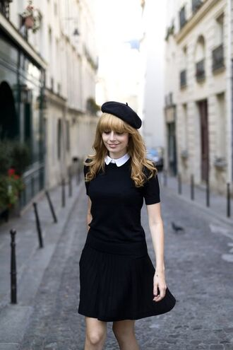 dress black flared skirt french girl style beret black beret black skirt black mini skirt black t-shirt collared shirts