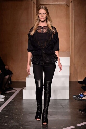 blouse top rosie huntington-whiteley fashion week 2014 black lace