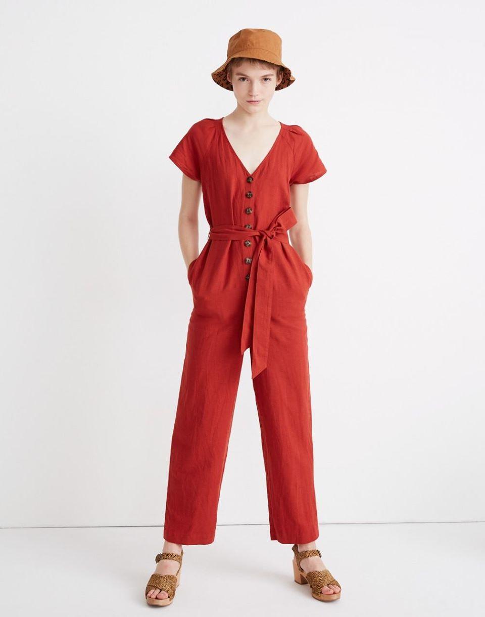 Women's Linen-Cotton Pleat-Sleeve Jumpsuit