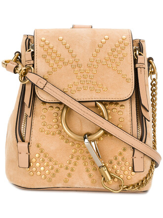 mini women backpack leather nude cotton bag