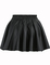 Pleated flare pu black skirt