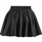 Pleated flare pu black skirt
