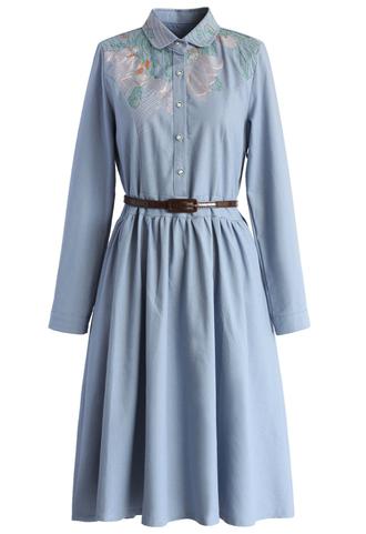 dress demure belted midi dress in chambray chicwish midi dress denim dress retro indie