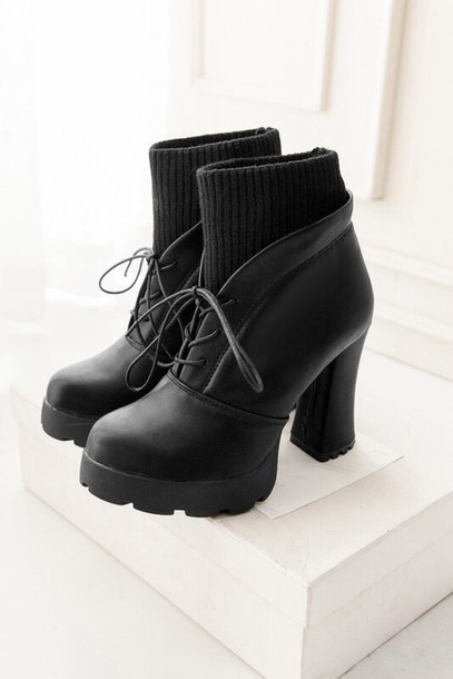 shoes black boots booties socks chunky heels heels heel boots