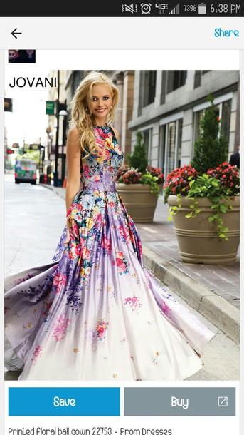 dress jovani floral prom dress