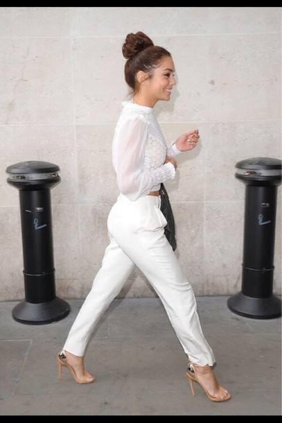 blouse white vanessa hudgens pants shoes all white everything shirt jeans white jogger pants sweatpants pants jumpsuit white pants white crop tops feminine ruffles sheer arms