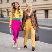 pants,orange,wide-leg pants,high waisted pants,mules,check blazer,crop tops,shoulder bag,midi skirt,striped shirt,belt