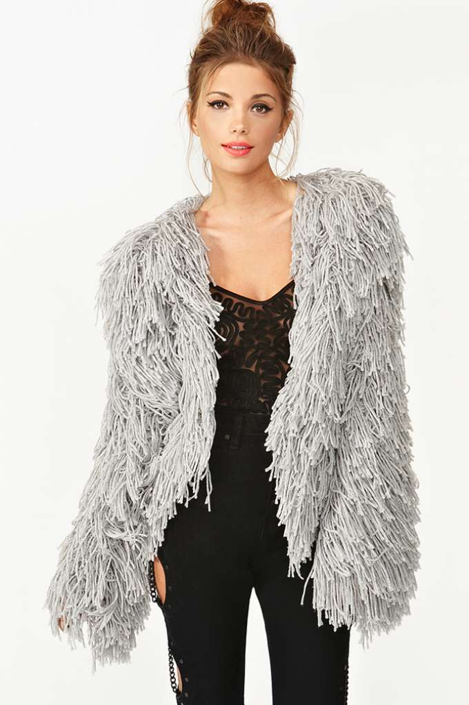 Fuse Shag Jacket - Gray  in  Clothes at Nasty Gal