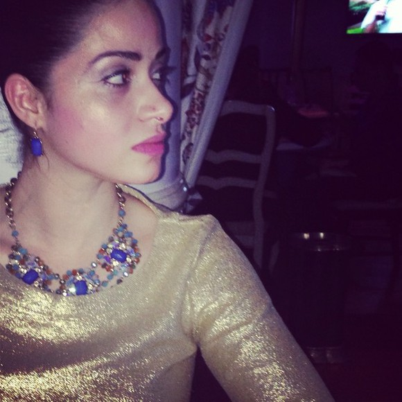 shiny jewels gold blouse