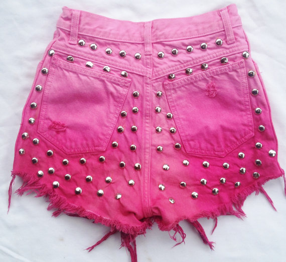 Vintage pink ombre high waist shorts with studded door zamghuden