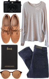 hipster,grey,shoes,camera,round sunglasses,notebook,jeans,back to school,sunglasses,casual,tan,brown shoes,t-shirt,chill,comfy,pretty,cute