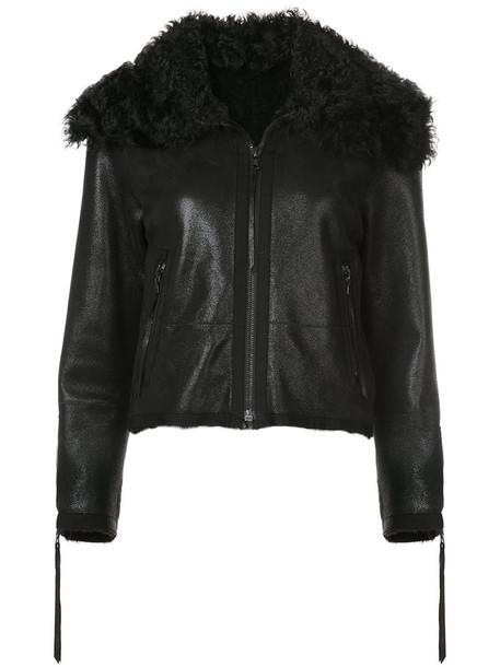 oscar de la renta jacket shearling jacket women black