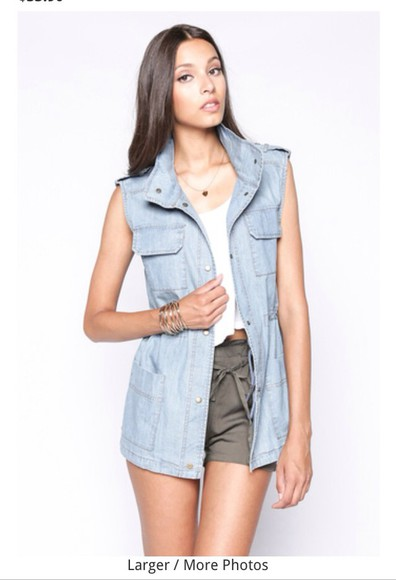 jacket vest jeans denim short sleeve 90's