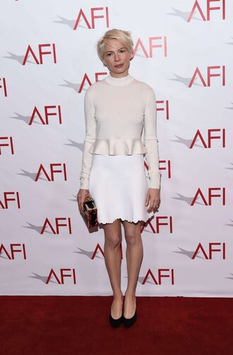 skirt top blouse michelle williams pumps