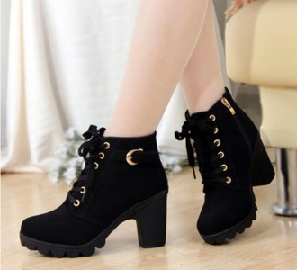 shoes black ankle boots lace up heel chuncky heels