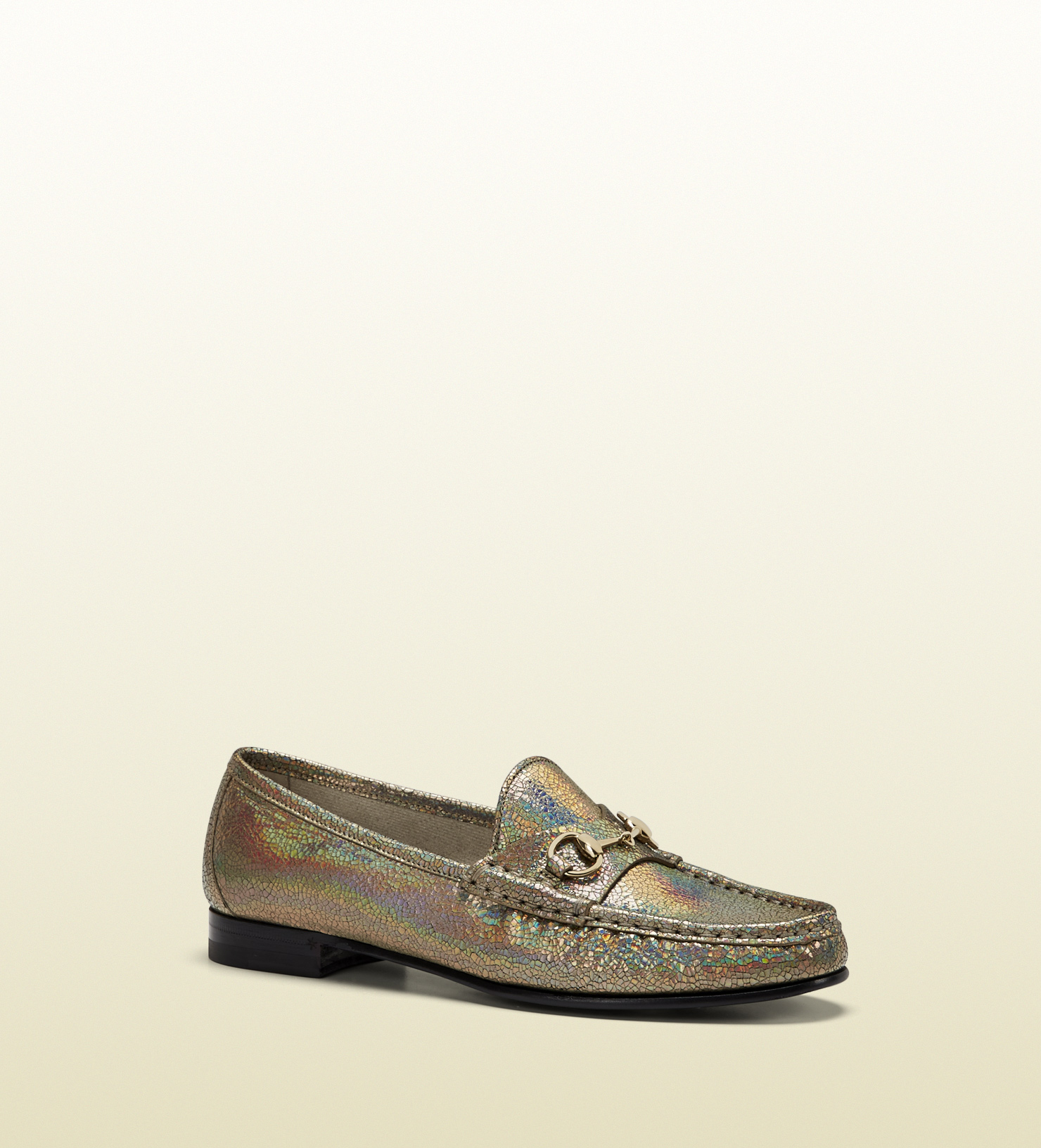 Gucci - 1953 horsebit loafer in crackled metallic leather 318394DCK009605