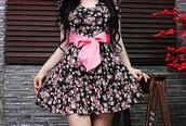 dress,floral,floral dress,bows,pink,beautiful