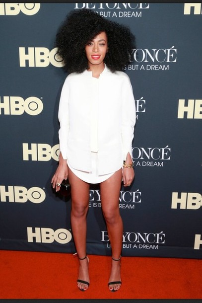 Dress: solange knowles, blazer, white dress, white, black high ...