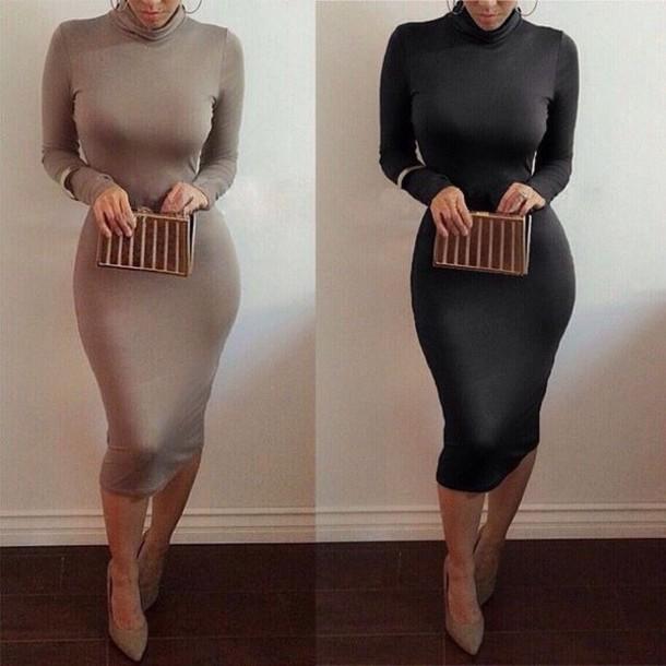 dress black dress long sleeve dress bodycon black white bodycon dress beige midi dress