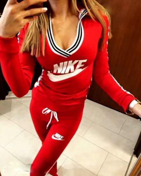 jumpsuit nike sportswear crewneck red tracksuit pants workout leggings workout leggings shirt swag