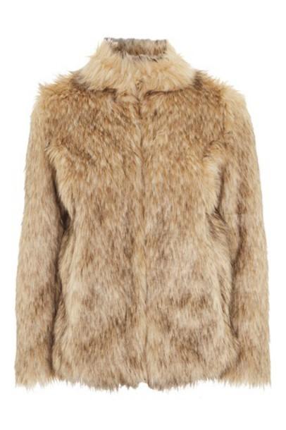 Topshop coat faux fur coat fur coat fur faux fur beige