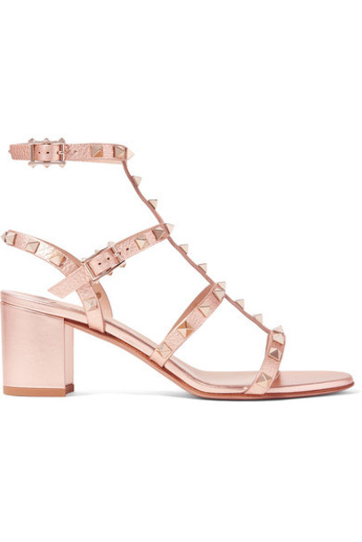 Valentino metallic sandals leather sandals leather pink shoes