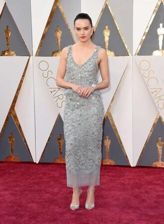 dress silver gown prom dress midi dress daisy ridley oscars 2016 sandals embellished dress