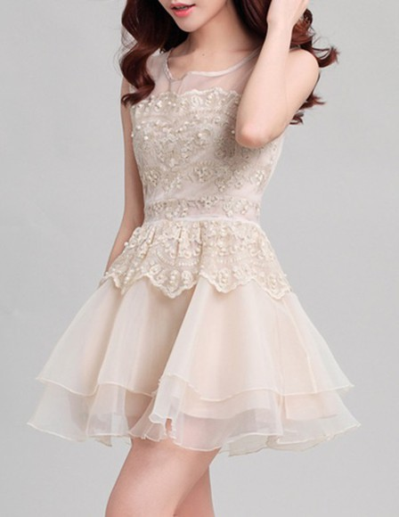 pearl cute fashion white dress lace dress short party dresses cute dress Glitz