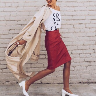 skirt belt camel coat tumblr red skirt midi skirt pencil skirt t-shirt white t-shirt shoes white shoes mid heel pumps coat camel trench coat spring outfits quote on it