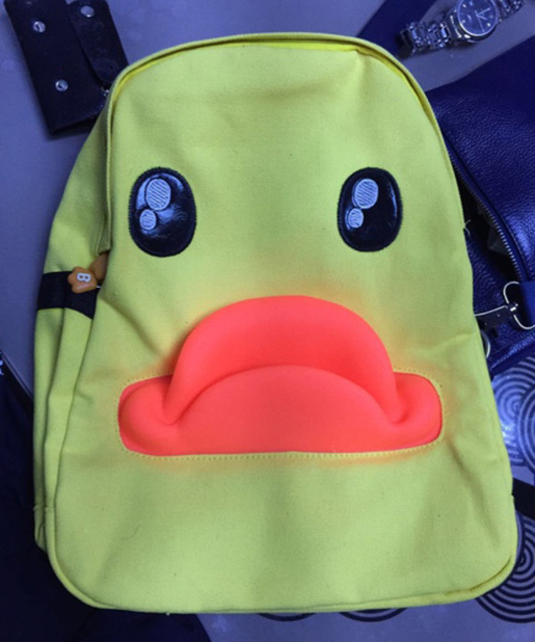 bag yellow cute funny girly style fashion school bag back to school boys and girls casual canvas backpack yellow ducks backpack