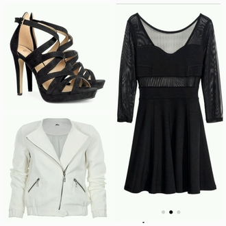 shoes noir talons dress noire belle coat blanche cuir