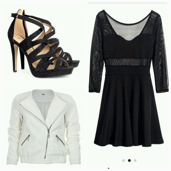 cuir coat blanche shoes noir talons dress noire belle