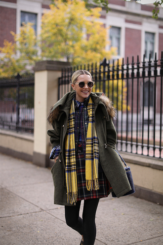 skirt scarf tartan scarf grey coat tumblr tartan tartan skirt flannel scarf coat sunglasses tights
